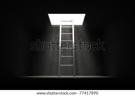 silver grey shiny ladder in the middle of a dark room leads out to the light