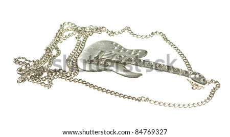 silver guitar necklace isolated on a white background