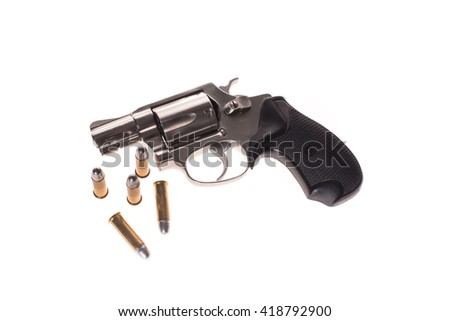 Silver Gun and Bullets on white background - stock photo