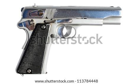 Silver gun isolated on white - stock photo
