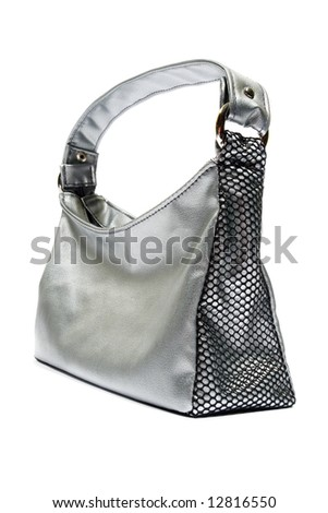 Silver handbag. Isolated on white.