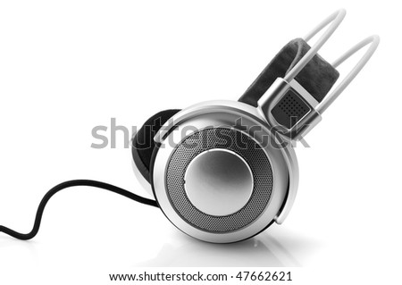 Silver headphones with cable isolated on white background. - stock photo