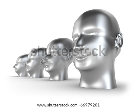 Silver Heads, abstract concept isolated on white - stock photo