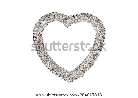 Silver heart picture frame isolated on white with clipping path. - stock photo