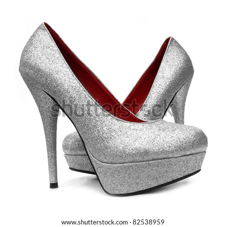 Silver high heels pump shoes - stock photo