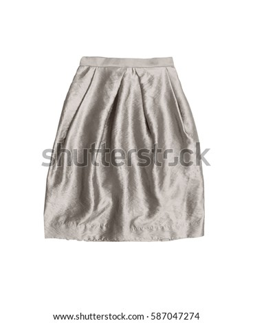 silver high waist skirt, isolated on white background