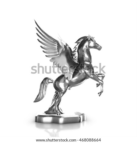 Silver  horse statue isolated on white background, 3d render