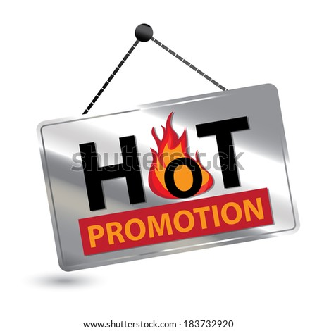 Silver Hot Promotion Icon, Sticker or Label For Seasonal or Special Promotion Isolated on White Background - stock photo