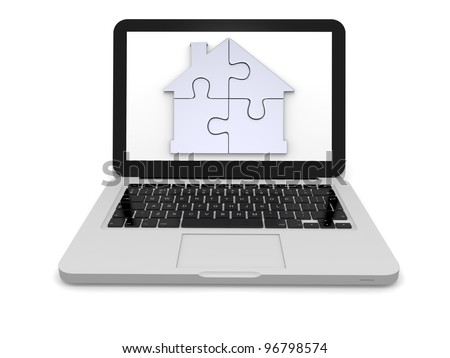 Silver house symbol made of four puzzle pieces on laptop screen