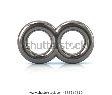 Silver infinity symbol 3d rendering isolated on white background