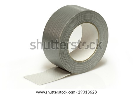 Silver insulating tape isolated on white background