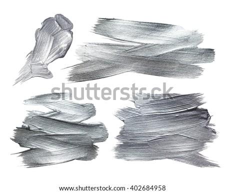 Silver Iron Foil Stroke. Silver Metallic Glitter Design. Silver Abstract Paint Stain. Steel Iron Illustration Set. Shiny Silver Gloss Design. - stock photo