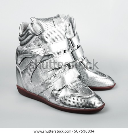 silver Italian shoes women