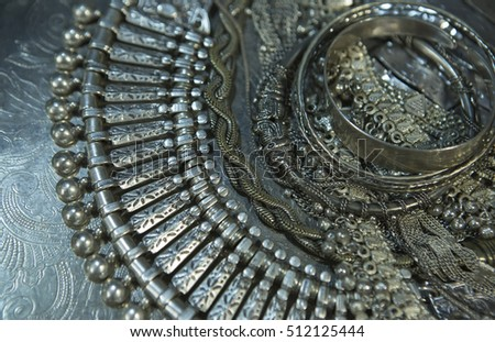 Silver jewelry. Lot of Beautiful Oriental Silver, Gold (Indian, Arab, African). Fashion Ethno Accessories, Asian Bridal jewelry. Tribal Moroccan belly Dance Jewelry. Necklace, Earrings, Bracelets
