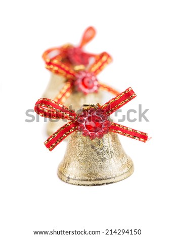 Silver jingle bells. Isolated on a white background. - stock photo