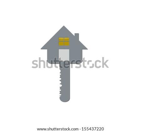 SILVER key. - stock photo