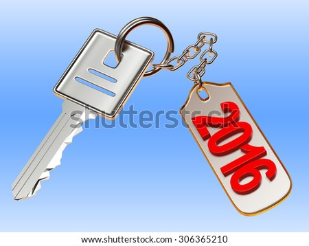 Silver key and metal  label with 2016 New Year on blue background - stock photo