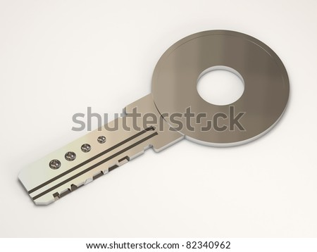 Silver Key on white background (Hight Resolution 3D Image)