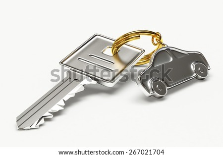 Silver key with car figure isolated on white background - stock photo