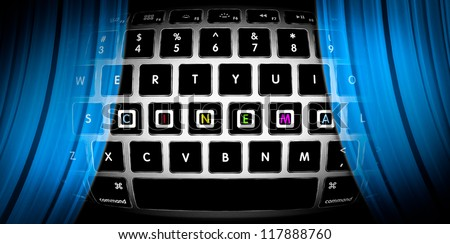 Silver keyboard with word Cinema on it. Blue curtains of online theatre. Watch movies on Internet. Concept of entertainment for people on web. Cyber theater in computer. Design for Internet site. - stock photo