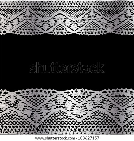 Silver lace on black background. Raster.