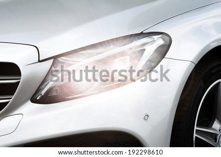 silver lamp of car  - stock photo