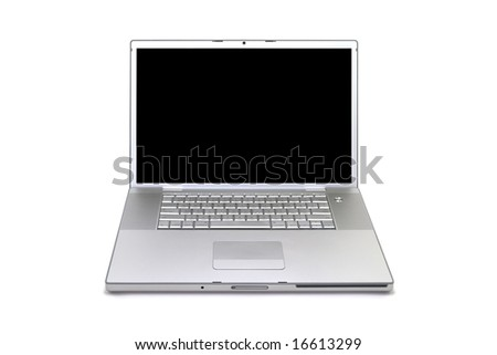 Silver laptop computer isolated on a white studio background with a black display.
