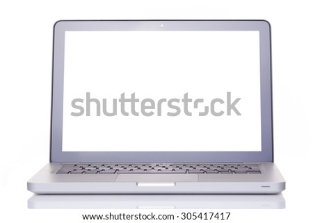 Silver laptop isolated on white background