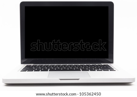 Silver laptop with blank black screen isolated on white background - stock photo