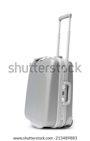 silver large polycarbonate suitcase isolated on white background with clipping path