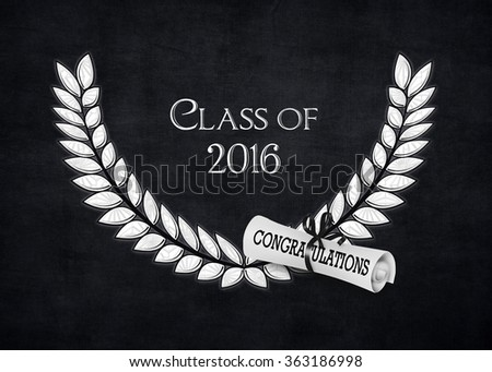 silver laurel with diploma on black for class of 2016  - stock photo
