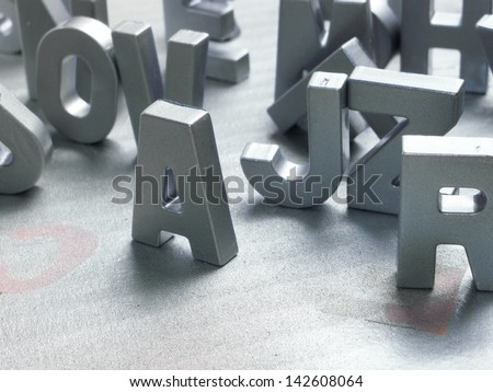 silver letters - stock photo