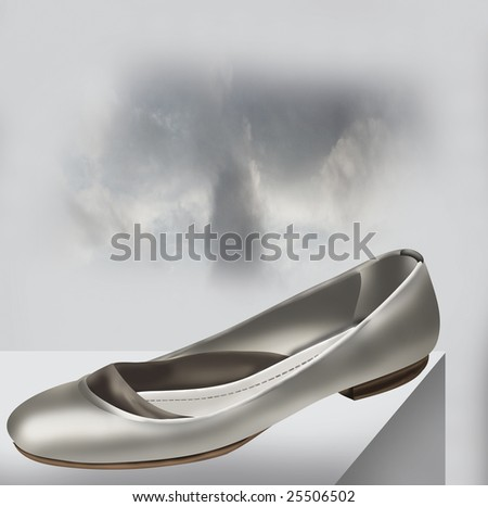 Silver Low Heels Shoe on Black and White Sky Background