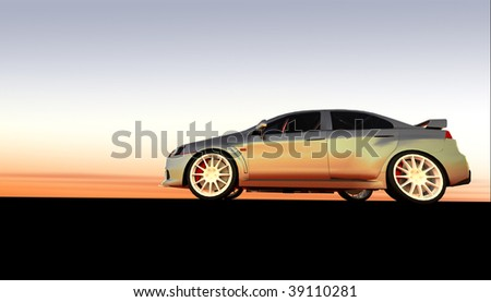 Silver luxury business car at sunset / sunrise with copy space - stock photo