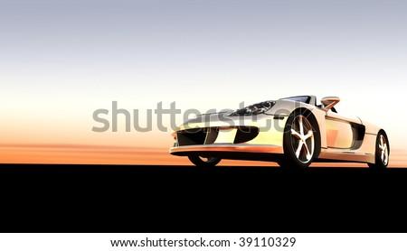 Silver luxury dream convertible sports car / sportscar at sunset / sunrise - stock photo