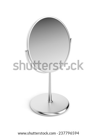 Silver magnifying mirror on white background - stock photo