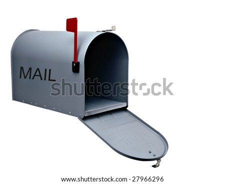 Silver mail box isolated on white background