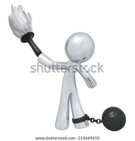 Silver man cleaning with a ball and chain. Suggests oppressive or underpaid work. - stock photo