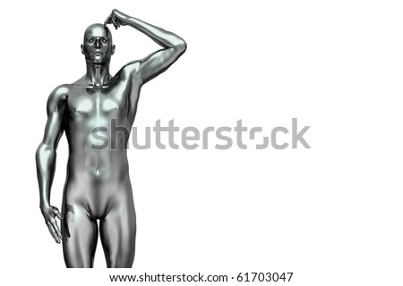 silver man futuristic 3d render scratching head - stock photo