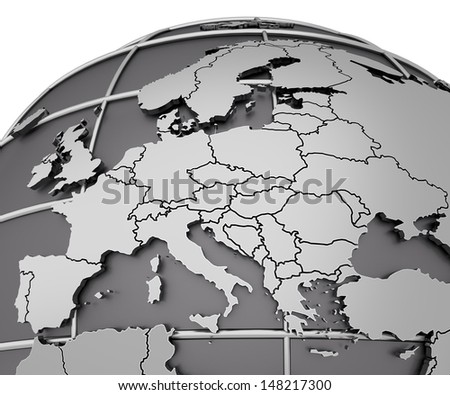 silver map of europe arched on sphere. 3d render - stock photo
