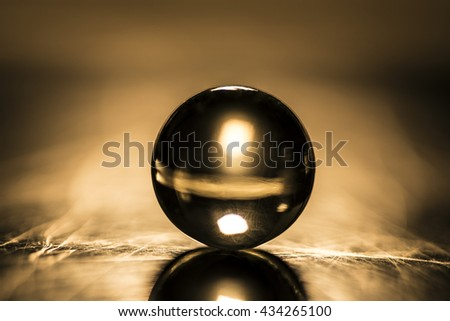 Silver marble glass ball - stock photo