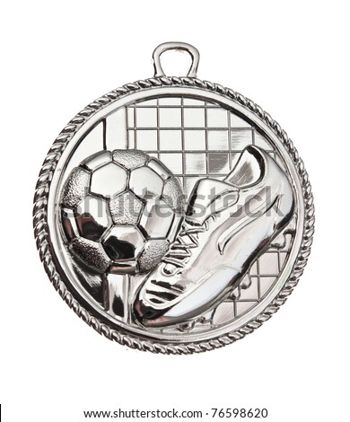 Silver Medal - football isolated on white background