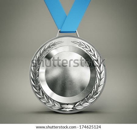silver medal isolated on a grey background