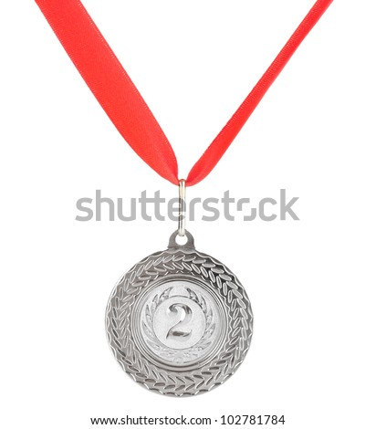 Silver medal isolated on white - stock photo