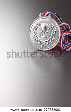 silver medal on the gray background