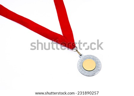 Silver medal with red ribbon isolated on white background