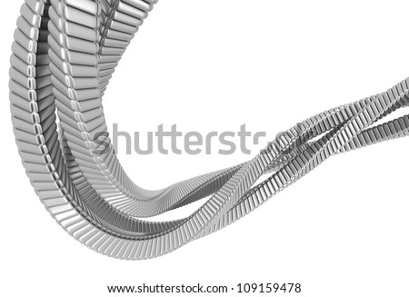 Silver metal abstract string 3d illustration - stock photo