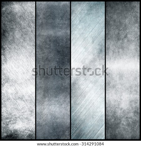 Silver metal banners for design - stock photo