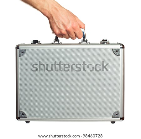 Silver metal briefcase in hand. Isolated on white - stock photo