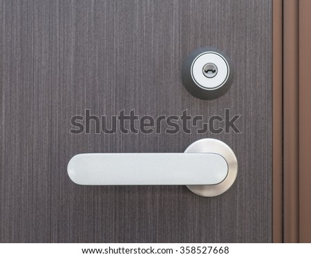 Silver metal door handle and brown wood door